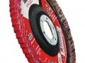 Disco flap angulado com suporte de fibra e disponível com grão / grana cerâmico e zircônio.
